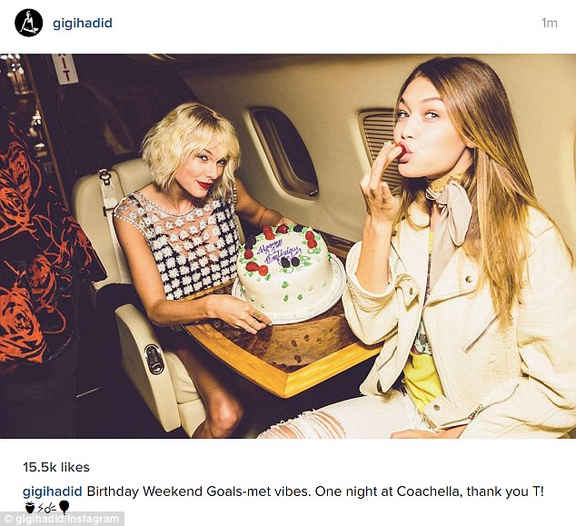 Goals met: Gigi also posted a snap of herself and Taylor with the birthday cake on Instagram