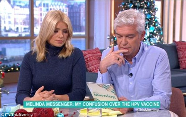 Concerned: Phillip Schofield revealed that both his daughters have had the vaccine and said even the contraceptive pill has a host of side effects
