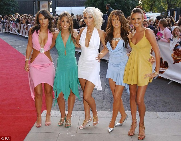 Back in the day: Kimberley is pictured with her former Girls Aloud bandmates Cheryl, Sarah Harding, Nicola Roberts and Nadine Coyle in 2004. The band - who were formed on reality contest Popstars: The Rivals in 2002 - split in March 2013 following a reunion tour