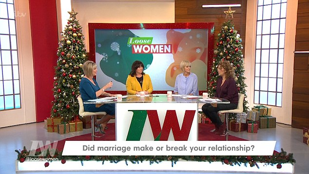 Inquisitive: Ruth Langsford (far left) tentatively stepped in and asked: 'Have they split then?'