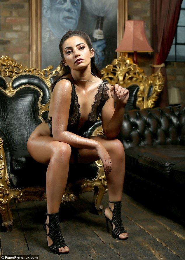 Take a seat: In one snap, Frances' modesty is barely contained in a sheer bodysuit as she sits forward in a leather chair