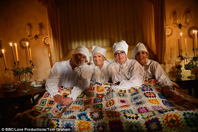 Festive feeling! The Great British Bake Off hosts - Paul Hollywood, Sue, Mary Berry and Mel get into the festive spirit ahead of the show's Christmas special