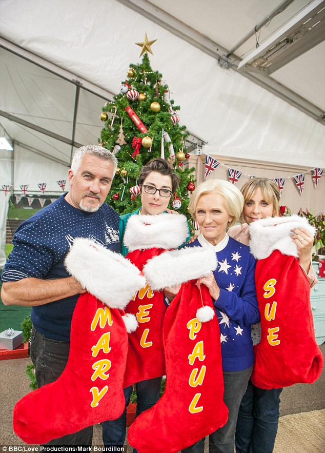 Stocking fillers: The Great Christmas Bake Off - which is set to air on December 25 - has teased that there's no love lost between the show's stars as they cosy up together in bed
