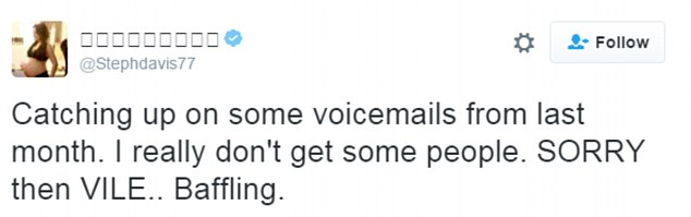 'Vile!' The former Hollyoaks star let rip on Twitter as she shockingly confessed to being trolled over voicemail