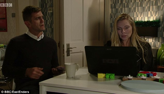 Ronnie Mitchell, played by Samantha Womack (right), was busy picking a holiday cottage to stay in as a Christmas trip for her and husband-to-be Jack Branning, played by Scott Maslen (left) but viewers spotted a mistake