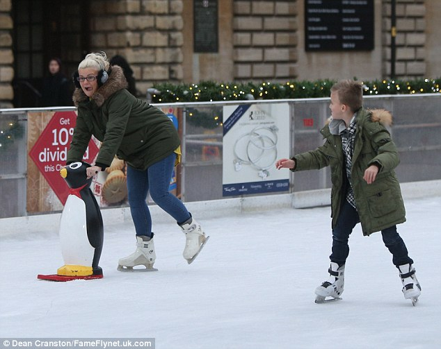 That's my boy! Conversely Maxwell looked assured as he joined his mother on the ice