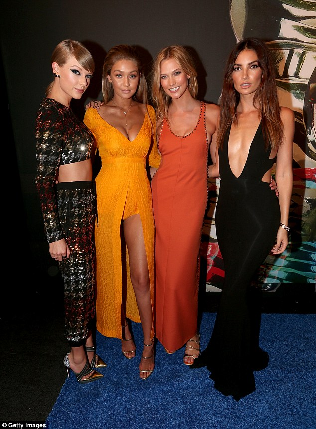 Girl squad: Gigi and Taylor are good pals along with models like Karlie Kloss and Lily Aldridge