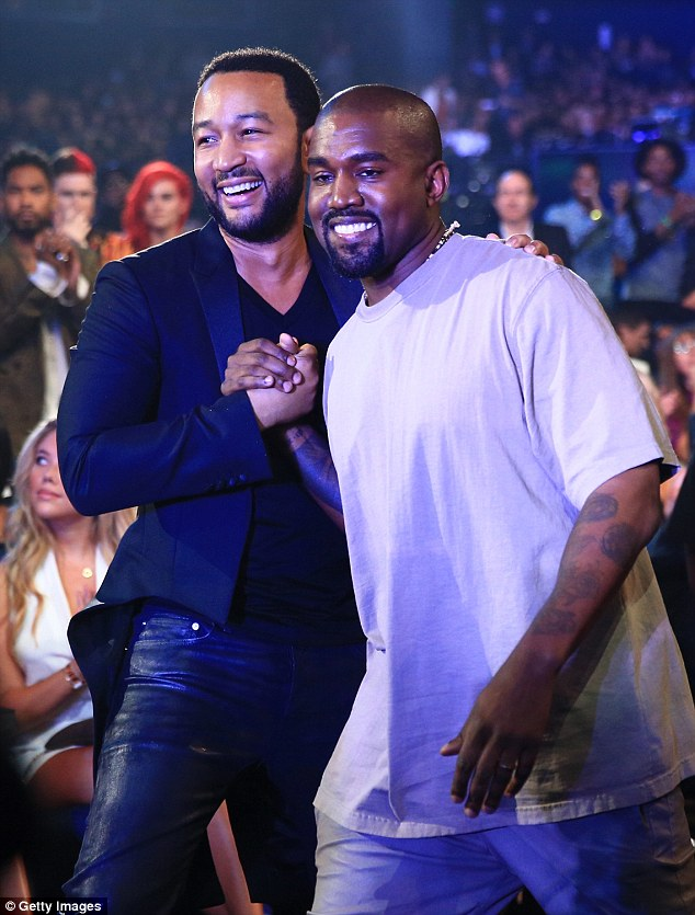 Not pleased: John Legend said he was disappointed by pal Kanye West's meeting with the Presidential elect he said in an interview with Clique.tv on Wednesday, as the two are pictured together at the MTV VMAs in August 2015