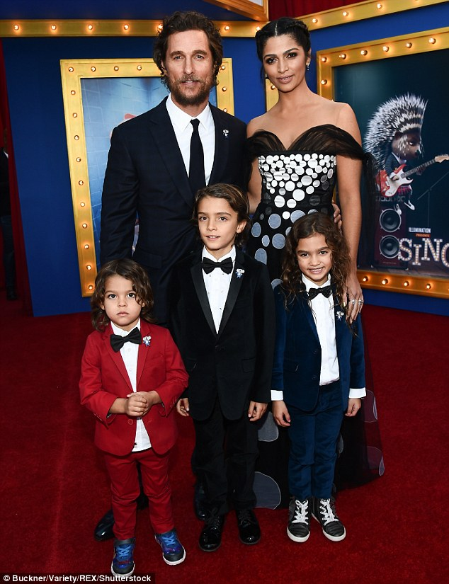 Family night out: He was joined by wife Camilla and their children - Livingston, three, Levi, eight, and Vida, six - at the Hollywood premiere of animated movie Sing on December 3