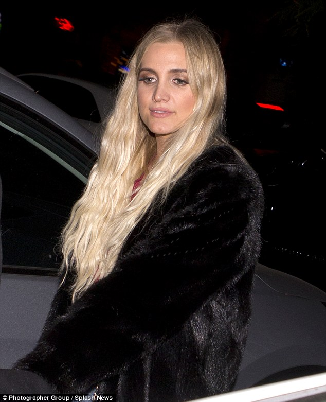 Certified platinum: The pop star and mother of two sported messy waves and distressed denim while out for dinner in LA