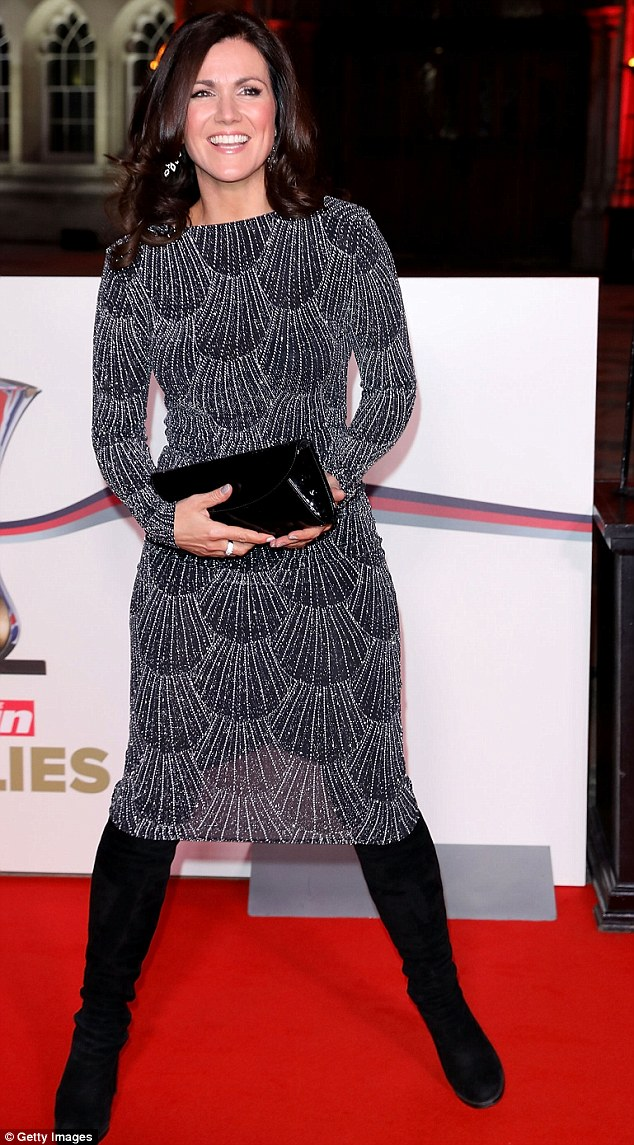 Dazzling:Adding another sparkling touch to the evening was presenter Susanna Reid, who turned heads in a chic bodycon midi adorned with silver gems