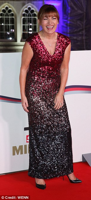 Busty babes: Lorraine Kelly put on a busty display in her sequinned gown with a low V neck (L) while Natalie Pinkham opted for black dress with a teasing slit at her chest