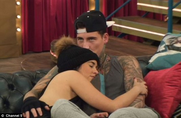 Turbulent romance: Earlier this week, the actress hinted she's received a number of nasty messages from her ex-boyfriend - and the father of her child - Jeremy McConnell. The pair are pictured in the CBB house in January