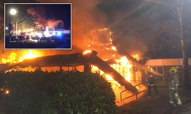 Dozens of firefighters battle massive blaze at M3 service station as it's declared a