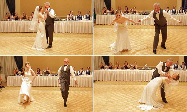 Father-of-the-bride wows wedding guests by performing routine with daughter