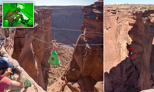 Daredevil swings 400 FEET above a Utah canyon in a tiny tent