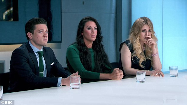 In the boardroom: (From left) Courtney Wood is the only male, standing up against Jessica and Alana Spencer