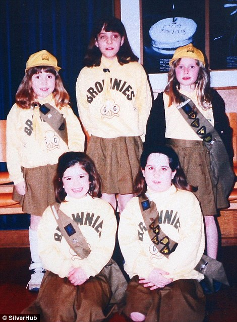 Kate (back row, centre) enrolled  as a Brownie in the 1st St Andrew's pack in Pangbourne, Berkshire, at the age of eight
