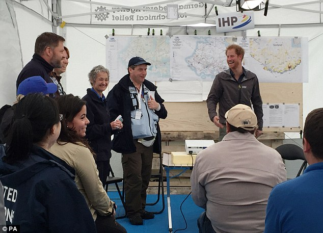 In MapAction's video, Harry can be seen visiting the tents where volunteers busied on laptops and created the maps needed to help efficiently tackle the pretend disaster