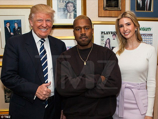 Kanye feels great again: The rapper posed with a smiling President-elect Trump and Ivanka inside the Republican election winner's personal office in Trump Tower. On Ivanka's shoulder are ratings from Variety magazine, showing The Apprentice as the most-watched show. Above her to the right is a picture of her father and John F Kennedy Jr taken at his Mar-a-Lago resort and club in February 1996. JFK Jr died in July 1999