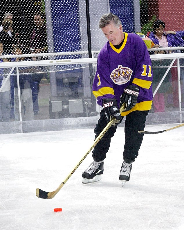 All good:Alan Thicke (above in 2004) was joking around and saying he was fine after his heart attack struck while playing hockey with friends on Tuesday morning