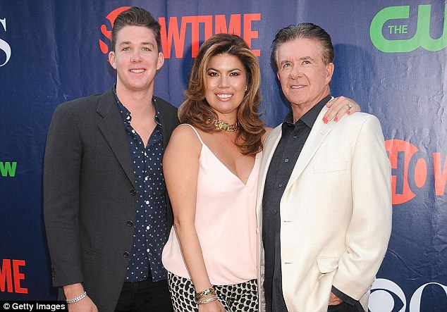 Final game: The Growing Pains star was playing hockey with his 19-year-old son Carter just before he died (Carter, Tanya and Alan Thicke above in 2015)