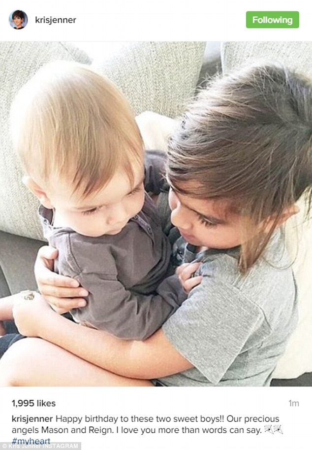 'Our precious angels': Kris Jenner posted a very sweet photo of brothers Mason and Reign Disick embracing each other in honour of their birthdays on Wednesday