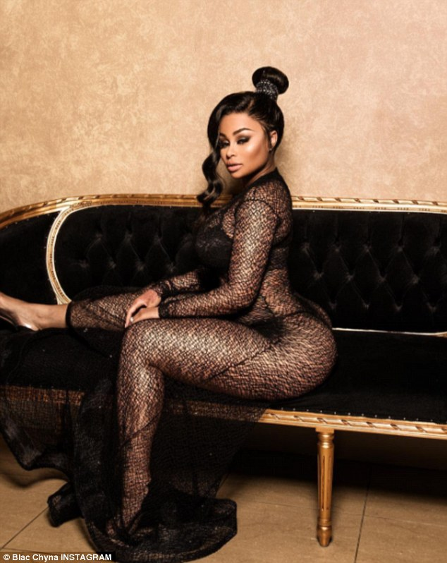 Smoldering stare: Blac Chyna rang in the middle of her week with a sizzling Instagram photo in which she showed off her curves in a transparent dress