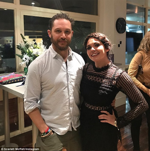 Loving life: It seems nothing can top meeting Hollywood hunk Tom Hardy for Scarlett Moffatt since the Gogglebox favourite branded their encounter the highlight of the year 2016