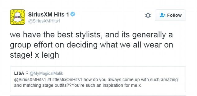 'We have the best stylists': Whilst they were in the studio, the girls took part in a Twitter Q&A and were asked about their fashion sense