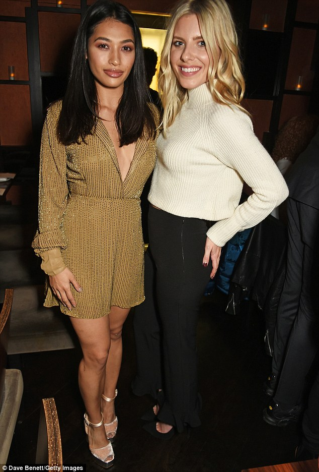 Saturdays reunite: Mollie caught up with her bandmate Vanessa White at the bash