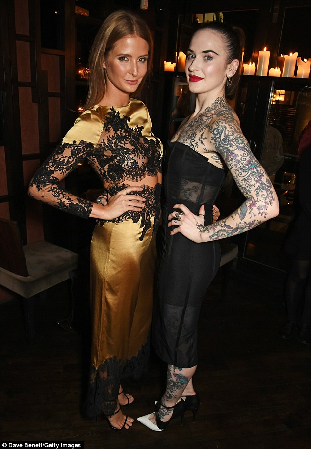 Strike a pose: Millie caught up with tattooed beauty Jessica Moloney at the event