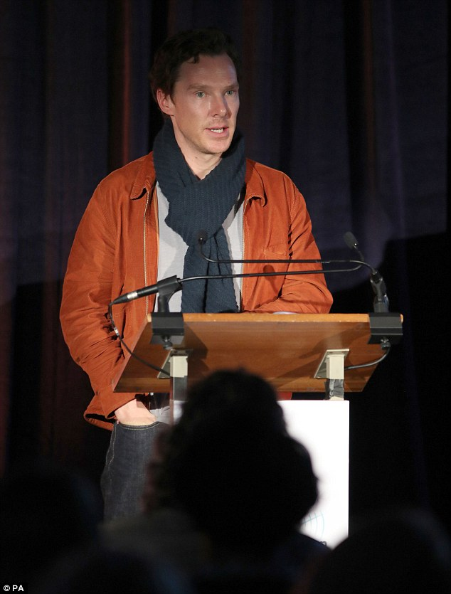 Good cause: Benedict Cumberbatch also took part in a Letters Live broadcast to 110 prisons across England and Wales, supporting the 10th anniversary of the Prison Radio Association