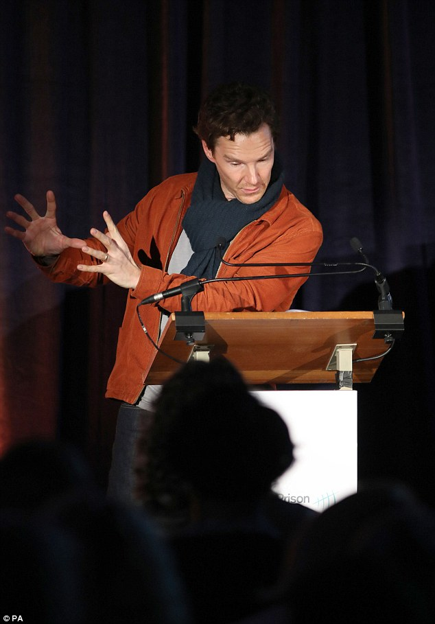 Dramatic reading: The Hollywood star commanded attention as he took to the stage