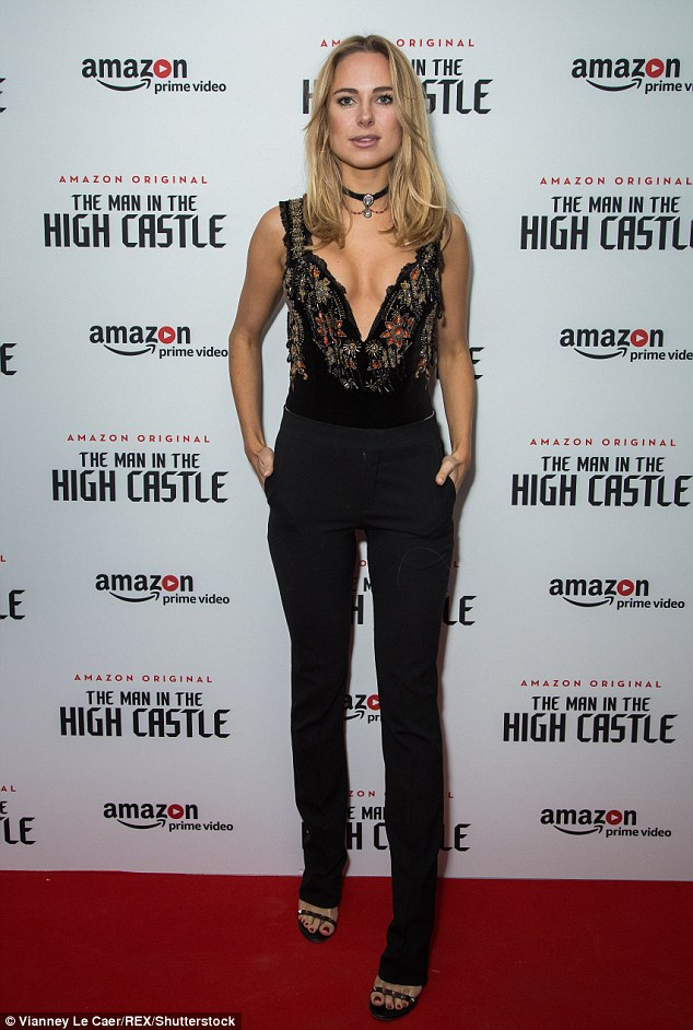 On full display: Kimberley Garner was not shy to expose her busty figure when she attended The Man In the High Castle Season 2 TV series premier in London