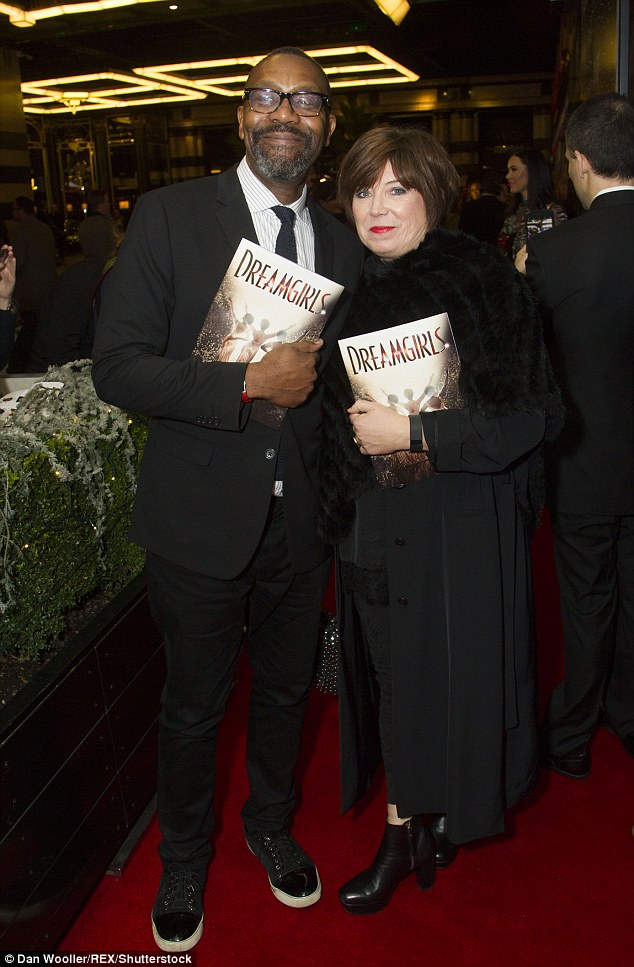 Lovely couple: Lenny Henry and Lisa Makin looked loved-up on the red carpet