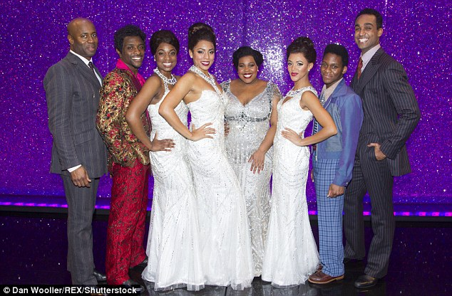 Living the dream! Nicholas Bailey, Adam J Bernard, Ibinabo Jack, Liisi LaFontaine, Amber Riley, Lily Frazer, Tyrone Huntley and Joe Aaron Reid posed for snaps backstage