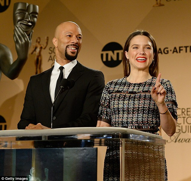 They were up early: Singer Common and actress Sophia Bush read the list at the Pacific Design Center in West Hollywood
