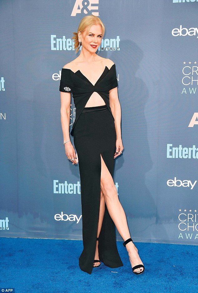 She made it: Nicole Kidman was nominated for Lion. Here she is seen at the Critics' Choice Awards on Sunday