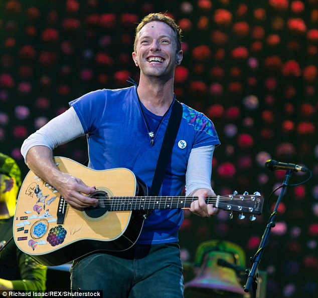 Funny guy:Chris Martin had a radio interview with KIIS 101.1 on Thursday, during which he joked about using gay hookup app Grindr 'most weeks'