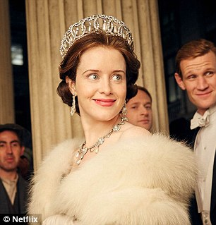 Queens and ladies: The Crown is up for the same award, as is Downton Abbey. Claire Foy (left) is up for Best TV show for her portrayal of Queen Elizabeth II
