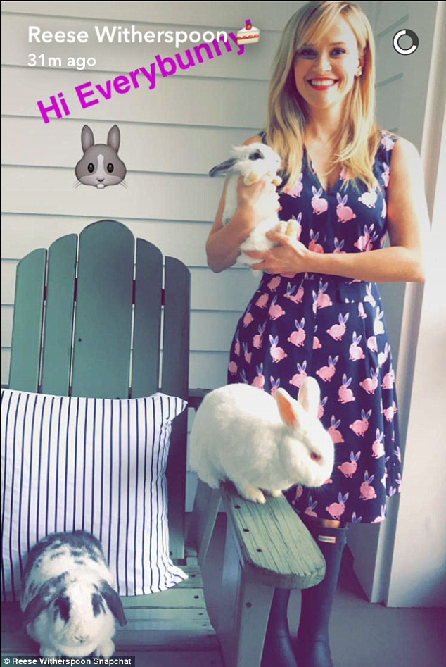 More bunnies! The actress surrounds herself with playful rabbits while promoting her business Draper James in Wednesday's Snapchat story