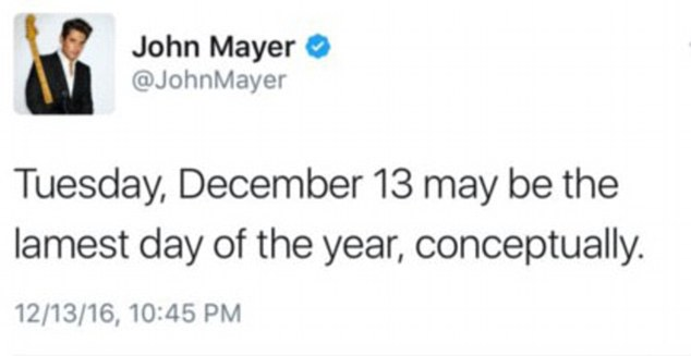Haters gonna hate: John tweeted: 'Tuesday, December 13 may be the lamest day of the year, conceptually'. He later deleted it, but not before sending Taylor fans into a spin