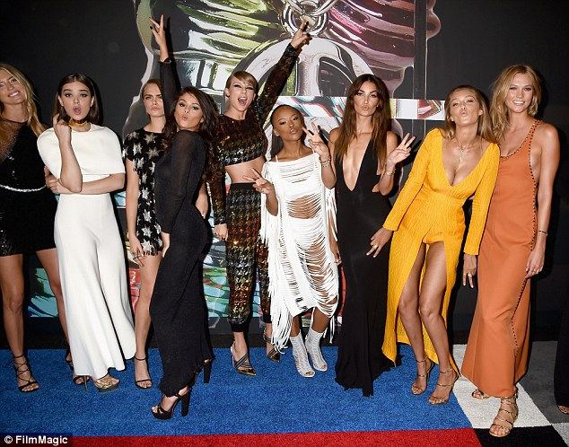 Friends: Taylor was given plenty of love on her birthday from her squad (L-R): Gigi Hadid, Martha Hunt, Hailee Steinfeld, Cara Delevingne,  Selena Gomez, Serayah McNeill, Lily Aldridge and Karlie Kloss