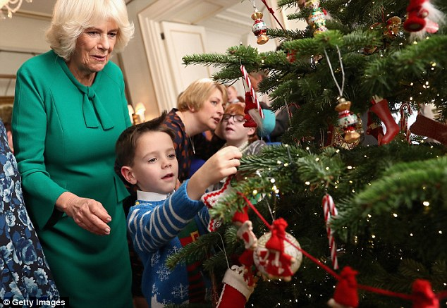 Dressed in a festive jumper Ronnie was the perfect helped for the Duchess to decorate her tree
