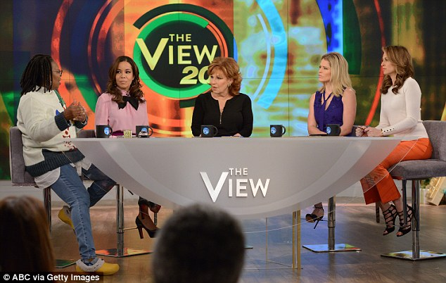 Two decades: Walters created The View in 1997, and only one of the original hosts remains on the show, Joy Behar (l to r: Whoopi Goldberg, Sunny Hostin, Behar, Sara Haines and Jedediah Bila this week)