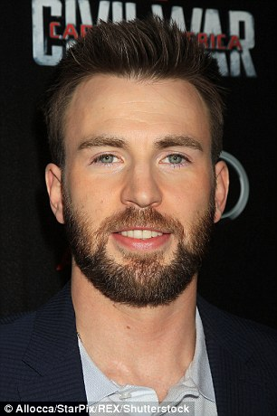 Captain America star Chris Evans, who also sports a beard, pictured, came sixth