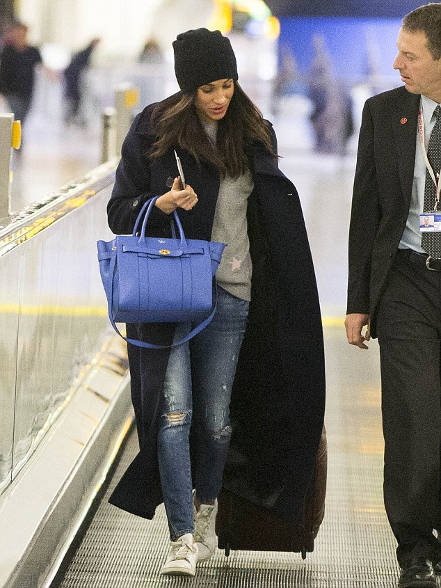 Prince Harry's American actress girlfriend Meghan Markle has been spotted leaving Britain after enjoying a getaway in London with the young royal