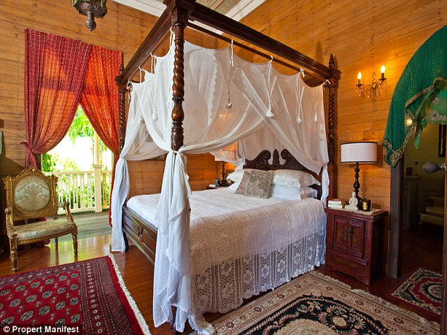 Boho luxury: Inside, the accommodation boasts wooden floorboards and walls and holds a rustic charm