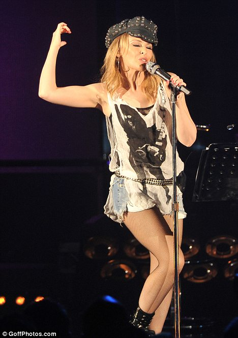 So macho: Kylie in concert at the Hammersmith Apollo last night